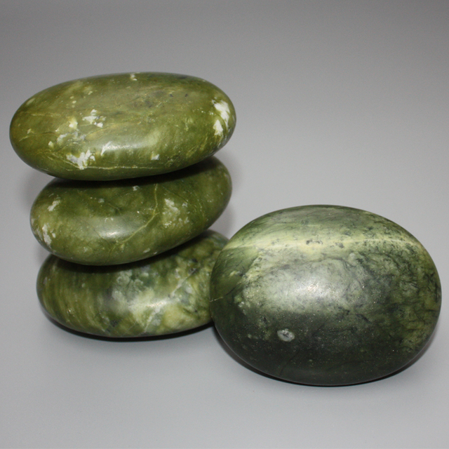 natural olive green marble stone SPA massage for face beauty relax health body chakra reiking healing stone health tool