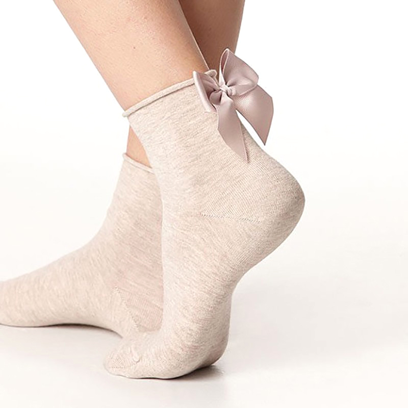Winter Autumn Spring Sweet Curl Cotton After The Heel Ribbon Big Bow Short Socks Wild Chaussette Female Herring Ankle Socks