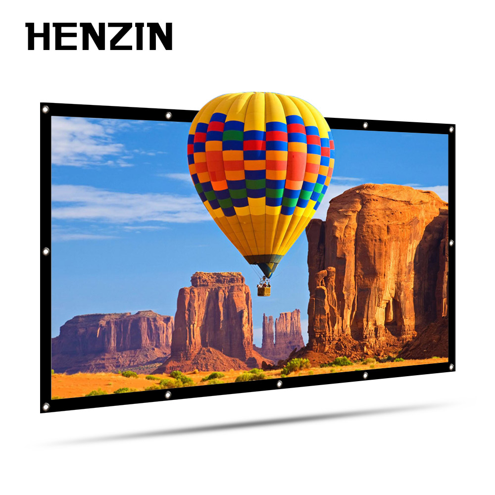 HENZIN Thickened Portable 100 120 inch 16:9 Projector Screen Wall Mounted Screen for Projector Home Cinema Projection Screen newpal 150 inch projector screen 4 3 16 9 foldable projector screen for outdoor and home cinema movies