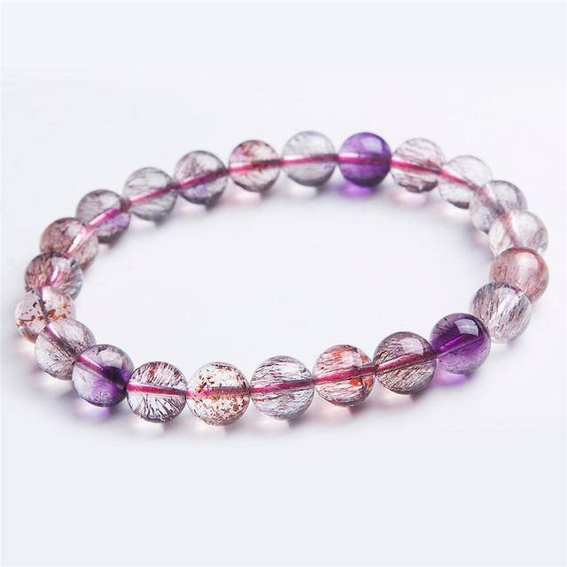 9mm Genuine Natural Gems Super Seven 7 Melody Stone Purple Hair Rutilated Quartz Crystal Stretch Round Bead Bracelet Just One