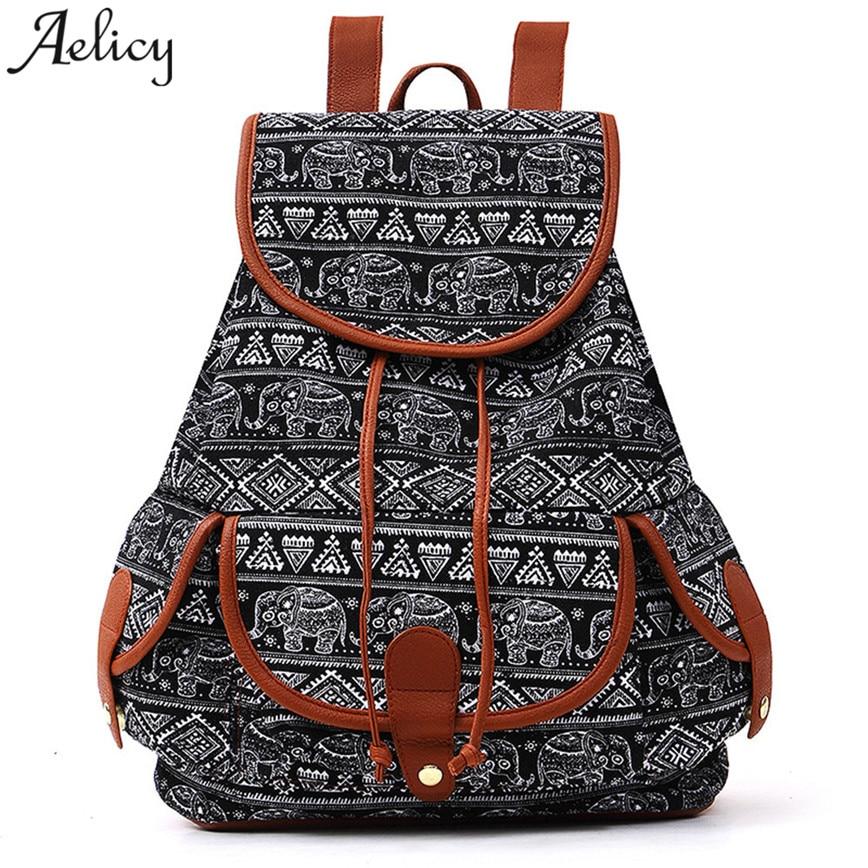 Aelicy Bohemian Canvas Backpack Women Vintage Print Travels Backpack String Hasp Girls Shoulder Bags School Bag S30