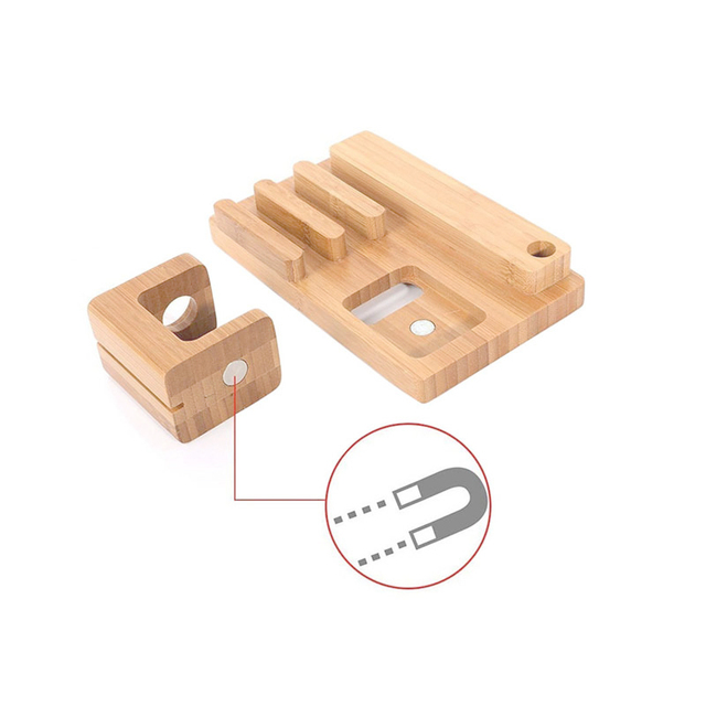 OKCore Wooden USB Charge Dock Mobile Phone Holders Stands for apple watch for iPhone for iPad Desktop finishing Phone Stand