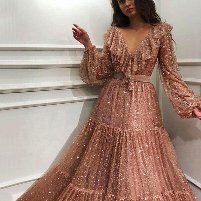 2019 Sexy Royal Rose manches longues robes de soirée brillant paillettes a-ligne formelle robe femmes élégant parti robe robe de soirée