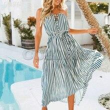 Cuerly sexy women striped sundress women ruffle bow midi dress bohemian beach dress big pendulum L5