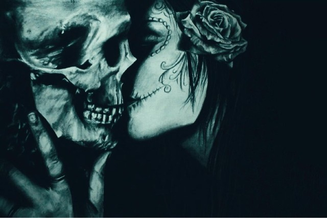 Wall Art Skull Kiss Gothic Fantasy Artwork Fabric Poster Print Picture