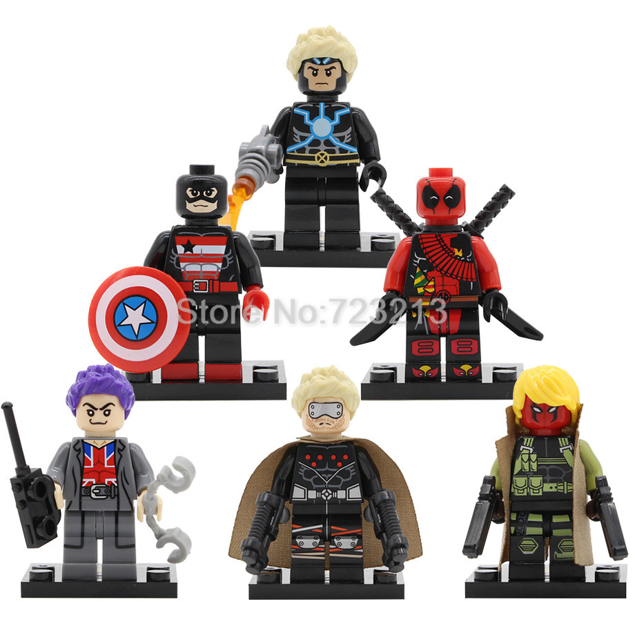 Single Sale Super Hero Figure Deadpool Captain America Union Jack Havok Building Blocks Sets Model Bricks Toys SY672 single sale decool 0250 0255 captain america figure civil war building blocks marvel hero models toys
