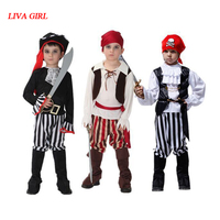 2017 New Arrival Caribbean Pirate Costume Girls Boys Party Cosplay For Children Kids Halloween Christmas Captain