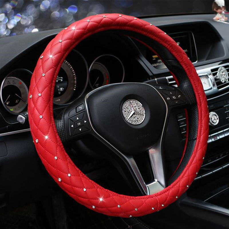 Leather Steering Wheel Covers Gypsophila Crystal Rhinestone Auto Car Steering-Wheel Accessories Universal Size 38CM Car Styling ice silk 38cm universal car steering wheel cover breathable car styling sport auto steering wheel covers automotive accessories