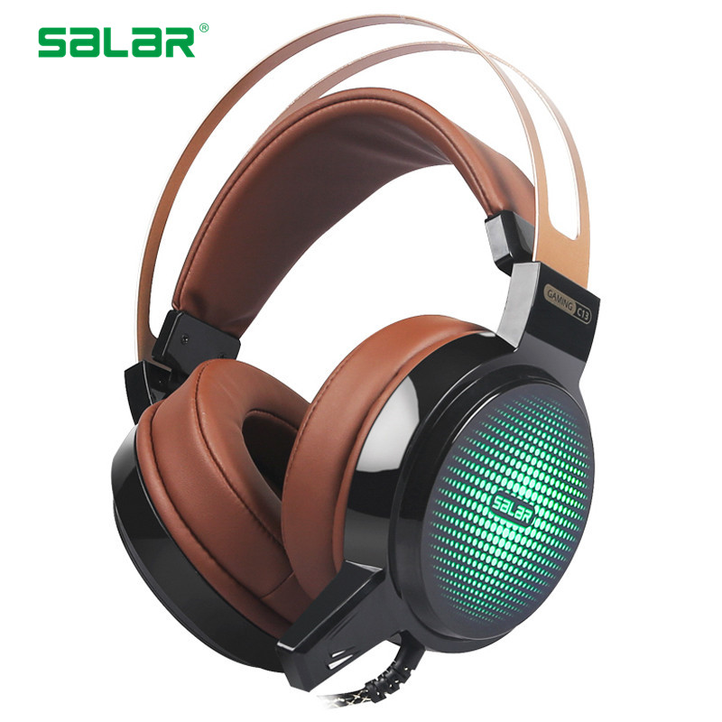 Salar C13 Gaming Headphones Wired 3.5mm USB Deep Bass Game Headset Over-Ear Casque With Microphone LED Light For PC Laptop Gamer super bass gaming headphones with light big over ear led headphone usb with microphone phone wired game headset for computer pc
