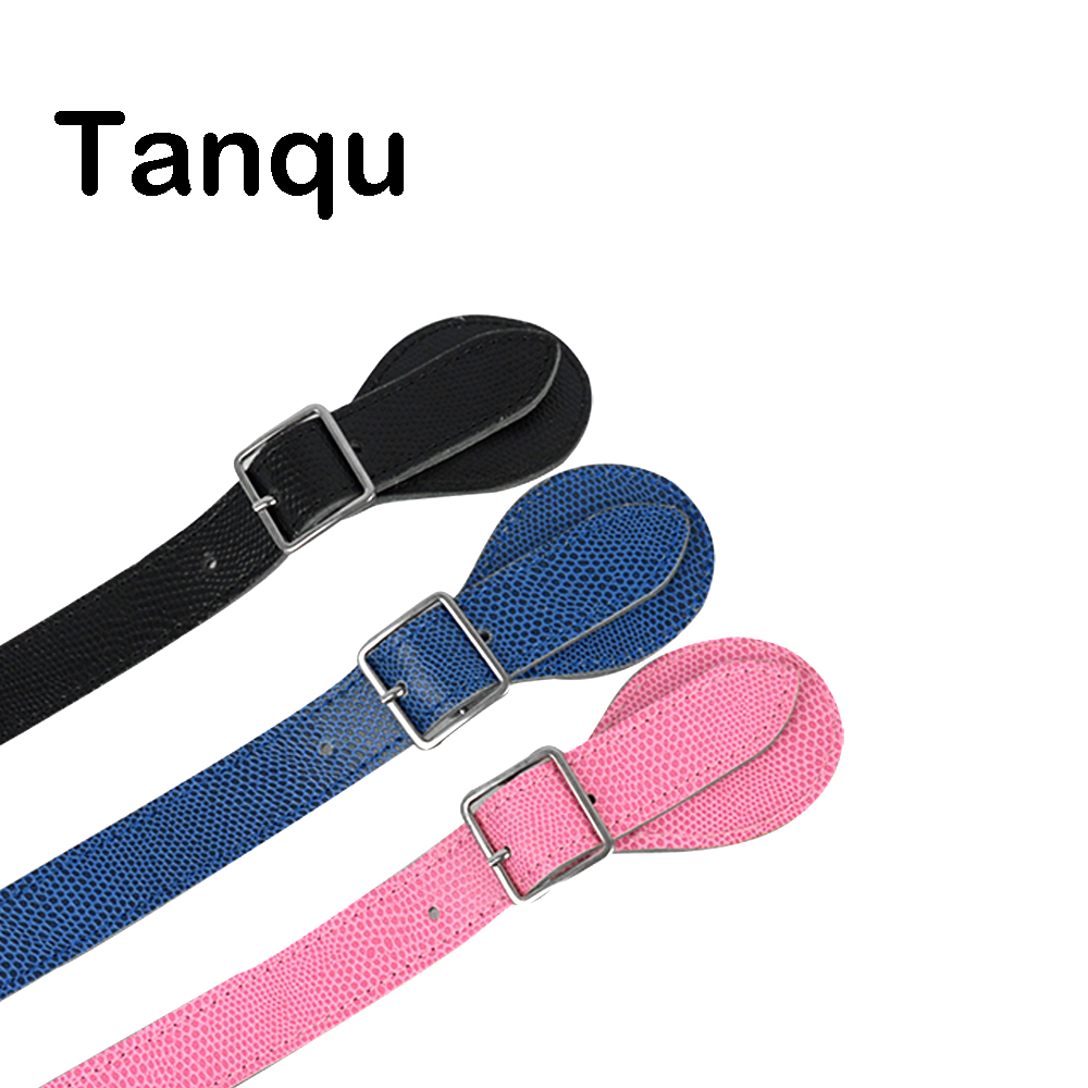 TANQU New Long Short Faux Lizard Patten Flat Handles For Obag Adjustable Leather Handle With Drop Buckle For O Bag