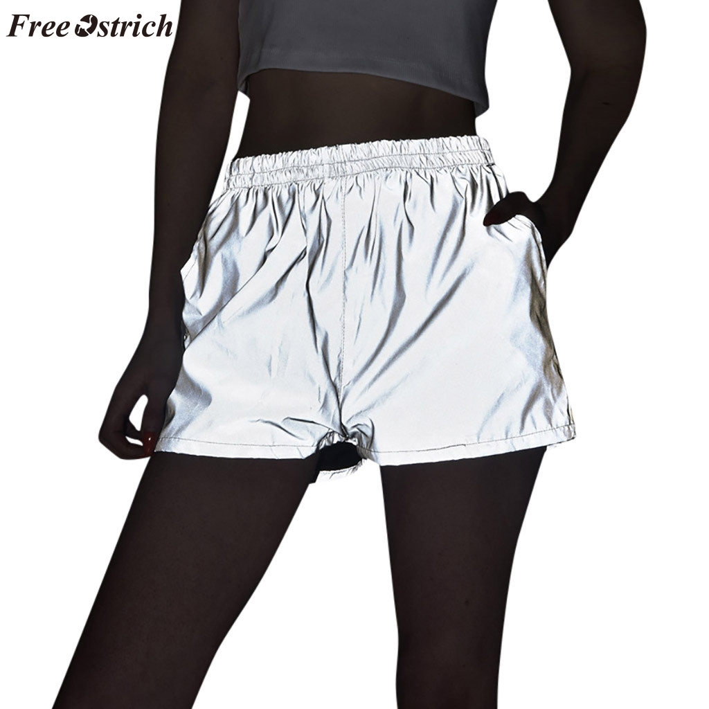 FREE OSTRICH Women's summer night reflective hip hop   shorts   night glow casual high waist night light for party   shorts   2019 new