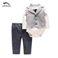 2019 autumn winter baby romper sets infant boy rompers + vest + tie +pant 4 pcs clothing set high quality cotton newborn clothes