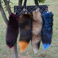 OBN 4 Colors Large Real fox Tail keychain Fur Tassel Car Key ring Bag Charm