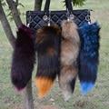 OBN 4 Colors Large Real fox Tail keychain Fur Tassel Car Key ring Bag Charm