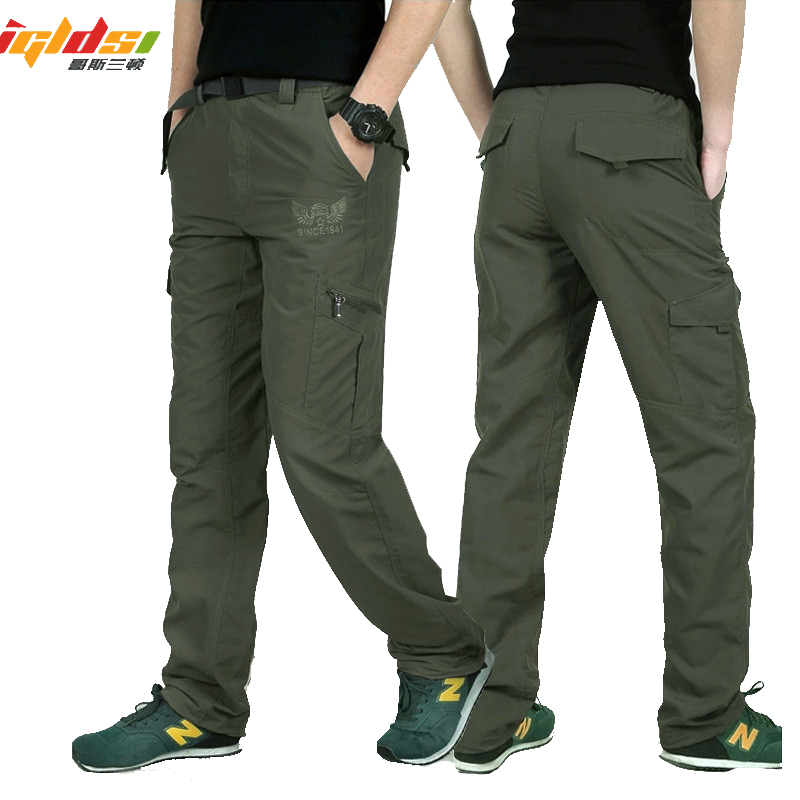 IGLDSI Military Style Cargo Pants Men Summer Waterproof Breathable Male Trousers