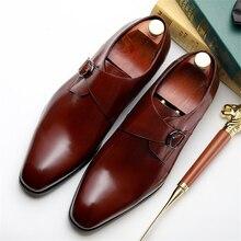 Мужская официальная обувь; кожаные оксфорды для мужчин; Свадебные Мужские броги; офисные туфли; мужские слипоны с пряжкой; zapatos de hombre