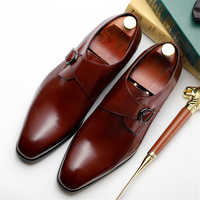 Mens formal shoes leather oxford shoes for men dressing wedding men's brogues office shoes slip on buckle male zapatos de hombre