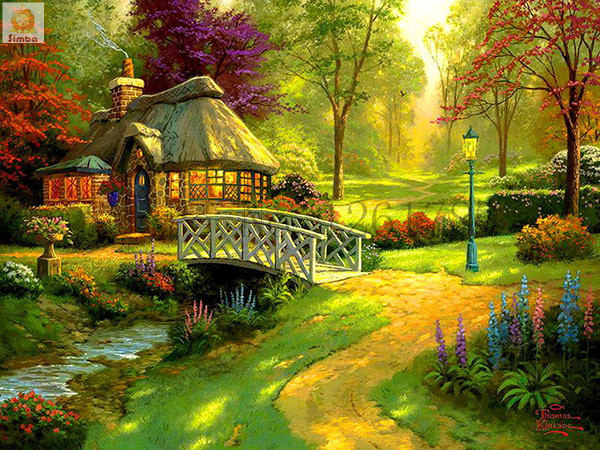 Needlework Resin Square DIY 5D Diamond Painting Cross Stitch Kits Full Embroidery Mosaic Summer Forest Cottage Garden Patterns In