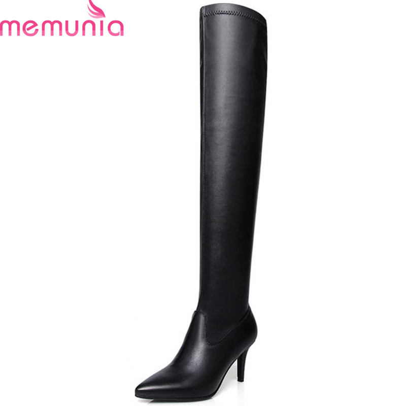 MEMUNIA 2018 new fashion shoes woman pointed toe genuine leather boots autumn solid color high heels thigh high boots blackMEMUNIA 2018 new fashion shoes woman pointed toe genuine leather boots autumn solid color high heels thigh high boots black
