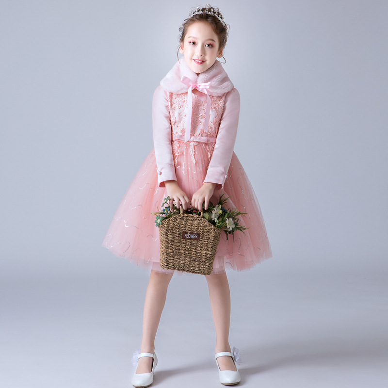 Chinese Style Pink Party Flower Little Girls Dress Winter Thick Long Sleeves Beautiful Princess Christmas Dresses 5-10 Years