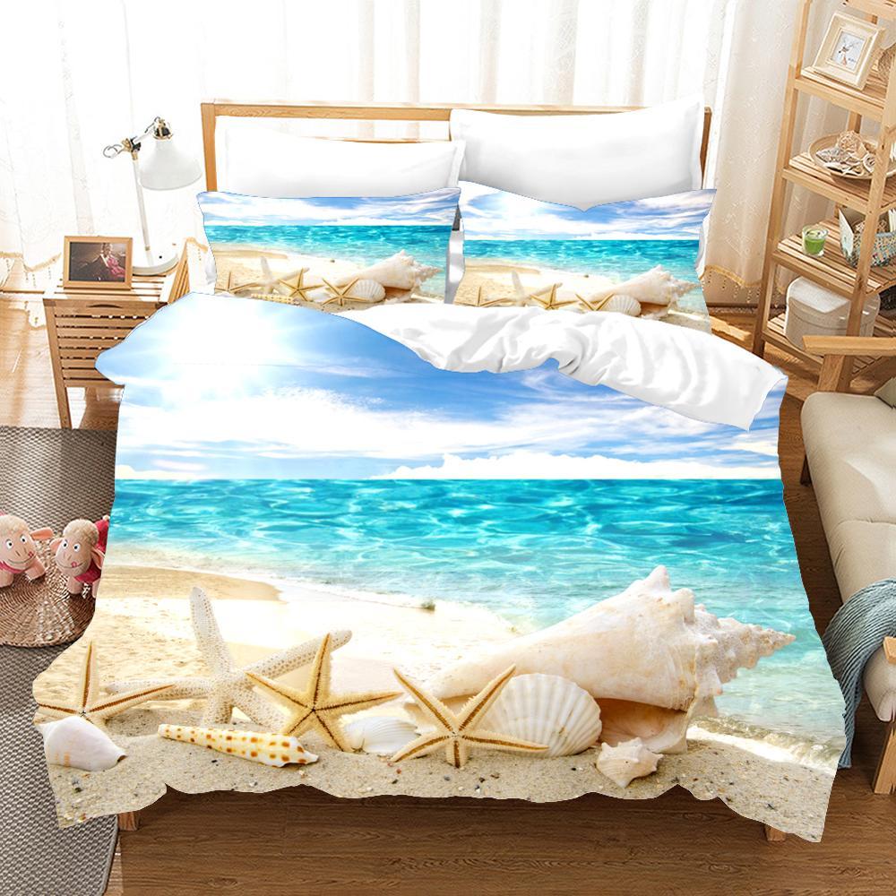Набор постельного белья с 3d принтом, крутой летний комплект постельного белья с изображением морской звезды, пляжный отдых, волна, закат, друзья, подарок, пододеяльник, набор домашнего текстиля. - 4