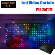 P18 2M*7M Fire Proof LED Video Curtain With SD/PC Controller For DJ Wedding Backdrops 90V-240V O Ring Expansibility 100V-220V
