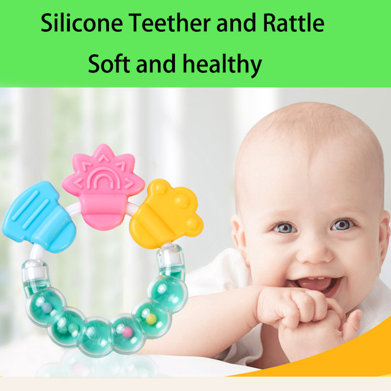Cartoon Baby Teether Educational Tools Chew Teeth Ring Biting Baby Rattle Toy Bed Bell Silicone Handbell Jingle Birthday Gifts