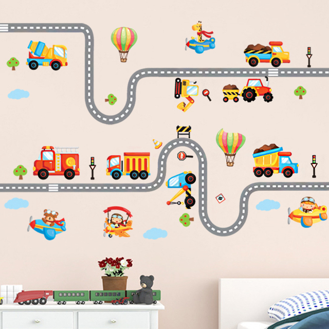 Cartoon Highway Track Car Wall Stickers Home Decor For Kids Rooms Nursery  School Decorative Decals