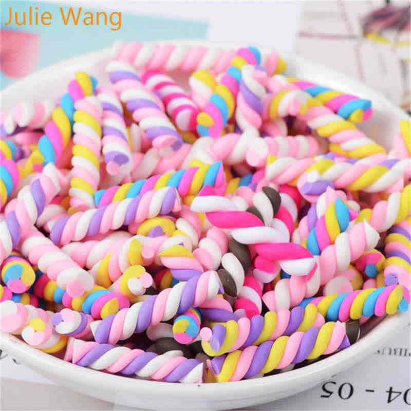 Julie Wang 20PCS Randomly Mix Resin Colorful Soft Rainbow Candy Slime Charms Pendants Jewelry Necklace Bracelet Accessory