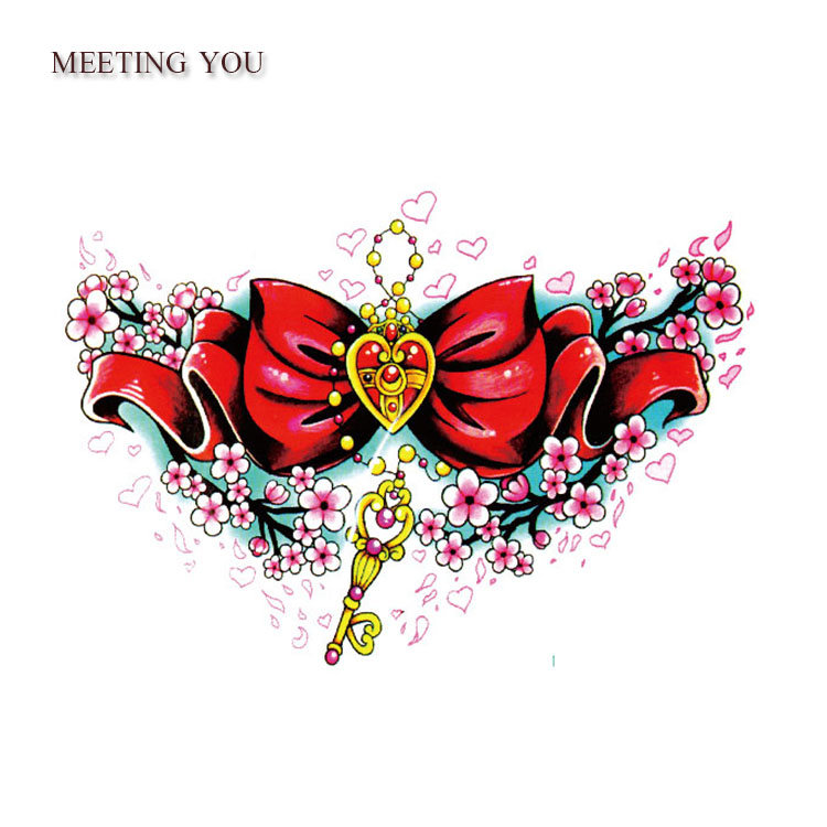 big red Butterfly knot And pattern of Love tattoos sex women/girl body art tatoo,legs lure Temporary tattoo Stickers 1