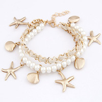 Lusion Jewelry Wholesale For Women 2015 New Design Fashion Accessories Pearl Metal Shells And Starfish Bracelet Christmas Gift