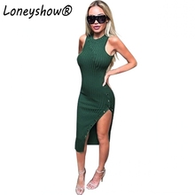 2018 New Autumn Winter Sleeveless O Neck Sexy Club Women Dress Slim Bodycon Knitted Sweater  Knee-Length Dress Party Night Dress
