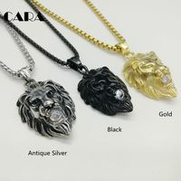CARA New 3 Colors Gold Color Roaring Lion Pendant Necklace Plated Stainless Steel Hip Hop Big