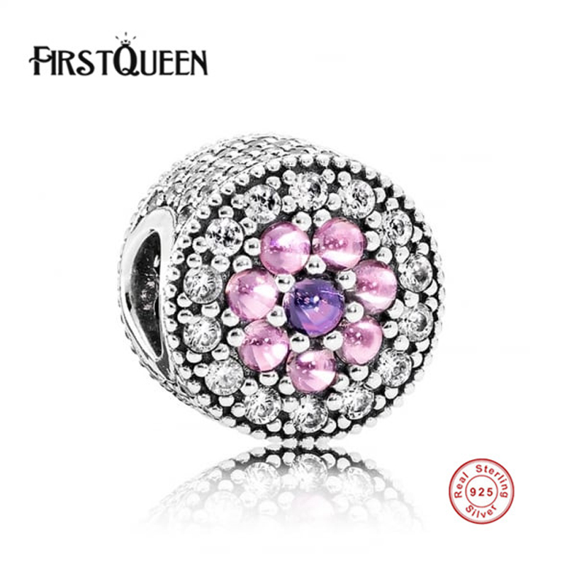 FirstQueen Hot Selling 100% 925 Sterling Silver Beads Dazzling Floral Charms Fits FirstQueen Bracelets Bangles Necklace.