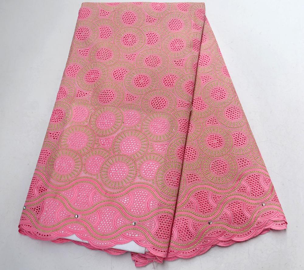 High Quality Pink Swiss Voile Lace In Switzerland Nigerian Lace Fabrics African Cotton Voile Lace Fabric For Wedding Dress
