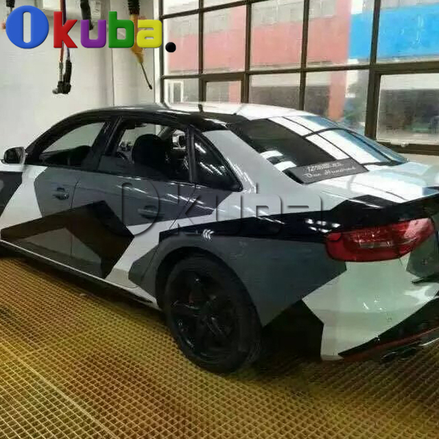 white black grey snow camo vinyl car wrap styling with air rlease gloss matt arctic - Auto Folieren Muster