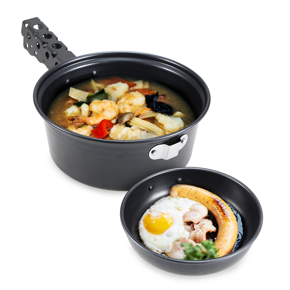 Image 4 - Outdoor Camping Pot Set Non stick Camping Cookware 2 3 Person Cook Set Nonstick Pot Pans for Backpacking Hiking Picnic-in Outdoor Tablewares from Sports & Entertainment
