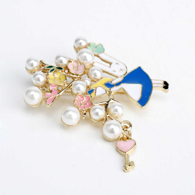 Dongsheng Baru Fashion Mewah Mutiara Hati Kunci Beade Perhiasan Jantung Pins Bros Pin Perempuan Partai Prom Kostum Aksesoris Hadiah-40