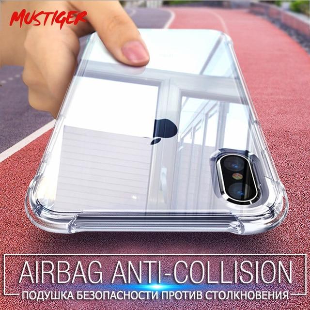 MUSTIGER Anti-Knock Casos de Silicone Transparente Para o iphone X 6 7 8 Além da Tampa Do Caso Para o iphone XS Max XR 5S 5 SE Caso TPU Macio