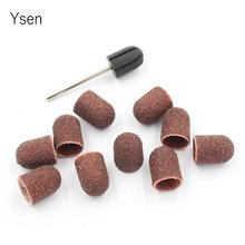 10*15mm 10pc/set Electric Nail Drill Accessories Sanding Bands Block Caps Rubber Mandrel Grip Pedicure Art Tools