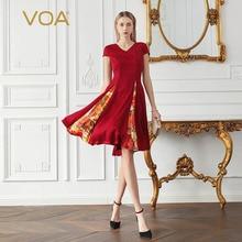 цена на VOA Wine Red Midi Pleated Silk Dress Slim V Neck Printed Short Sleeve Retro Summer Dresses Women Casual Luxury Ladies A899