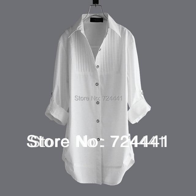 0c012440c0c59 Women Medium-long Cotton Blouses Shirts Spring Summer Autumn Female Vintage  White Long-sleeve Shirt 100% Cotton Plus Size Blouse