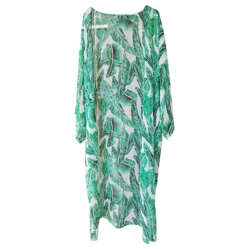 Women's Clothing Adroit Womens Summer Chiffon Semi-sheer Maxi Kimono Cardigan Top Green Tropical Banana Leaves Printed Bikini Cover Up 3/4 Sleeves Open