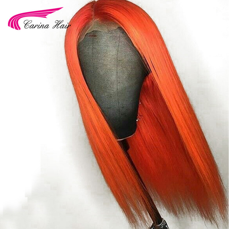 Carina Peruvian Full Lace Remy Silky Straight Lace Front Human Hair Wigs Orange With Baby Hair