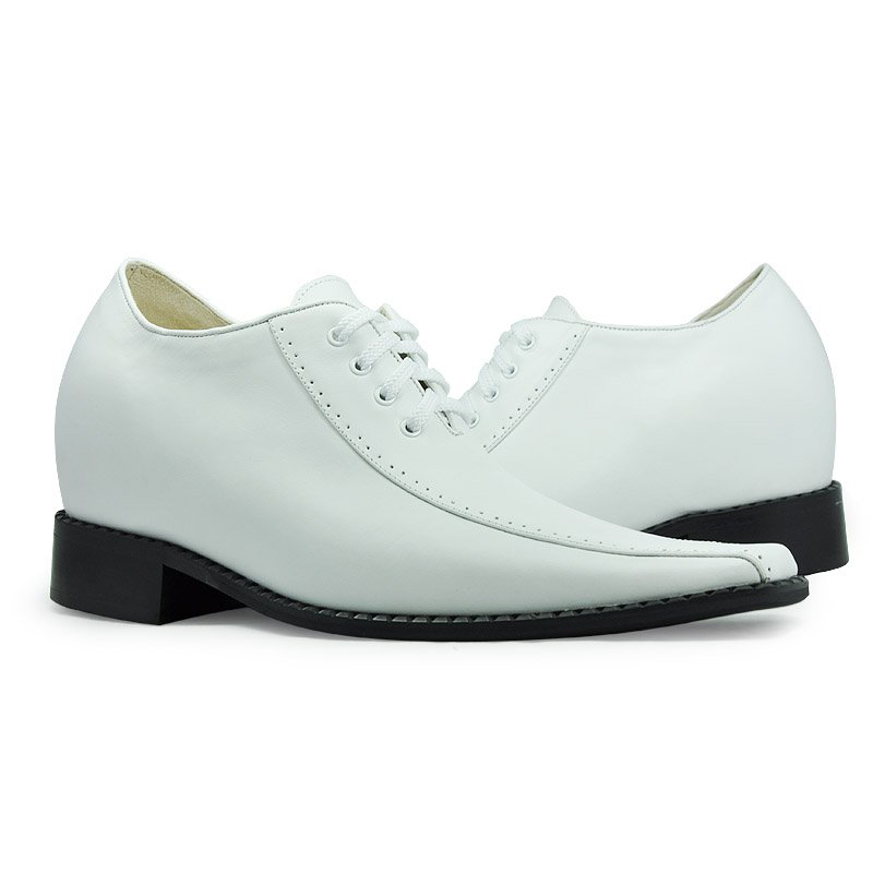 6131-WhiteLeather dress shoes for men - Oxhide fashion lift height shoes grow 8CM taller-Free Shipping to Worldwide