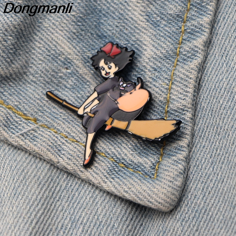 DMLSKY KiKis Delivery Service Witch Brooch Metal Enamel Pin Women backpack badge Men Tie Pins Cute Clothes Brooches M2874 in Brooches from Jewelry Accessories