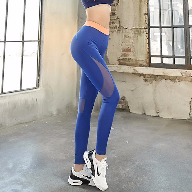 EF Sports Pants Women Fitness Legging Mesh Yoga Leggings Running Tights Compression Tight Yoga Pants Ladies Workout Clothing