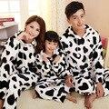 Jinuo 2018 nova chegada vaca inverno família flanela conjunto de pijama pais e crianças engrossar conjuntos de pijama macio casa usar pijamas