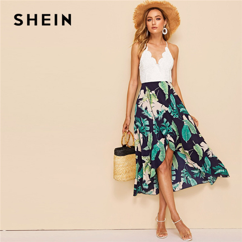 SHEIN Jungle Asymmetrical Wrap Hem Lace Insert Summer Dress Women Vacation Sleeveless V Neck Sexy Dress High Waist Midi Dress