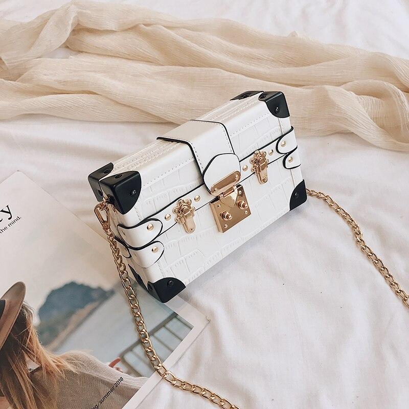 design retro mini bolsa feminina de couro